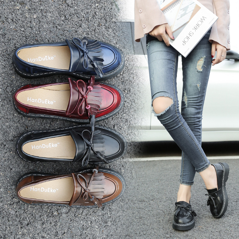Shoes Woman Loafers Shoes Tassel Large size 34-43 Superstar slip-on shoes Platform 2019 Wear-resistant Chaussure femme