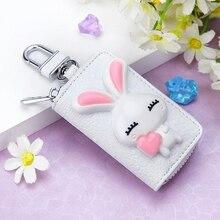 2018 ניו קוריאנית ארנק נשים עור פרה סוכנת בית מפתח מחזיק מפתחות ארנב מצויר מתנה יצירתית מארגן מפתח רכב מפתח תיק