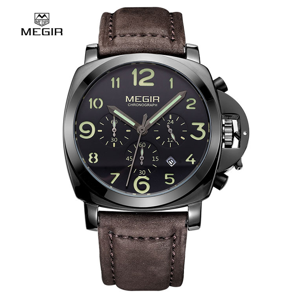 Megir Fashion Casual Top Brand Quartz Watches Men Leather Sports Watch Man Business Wrist watch Male Luminous Chronograph Hour