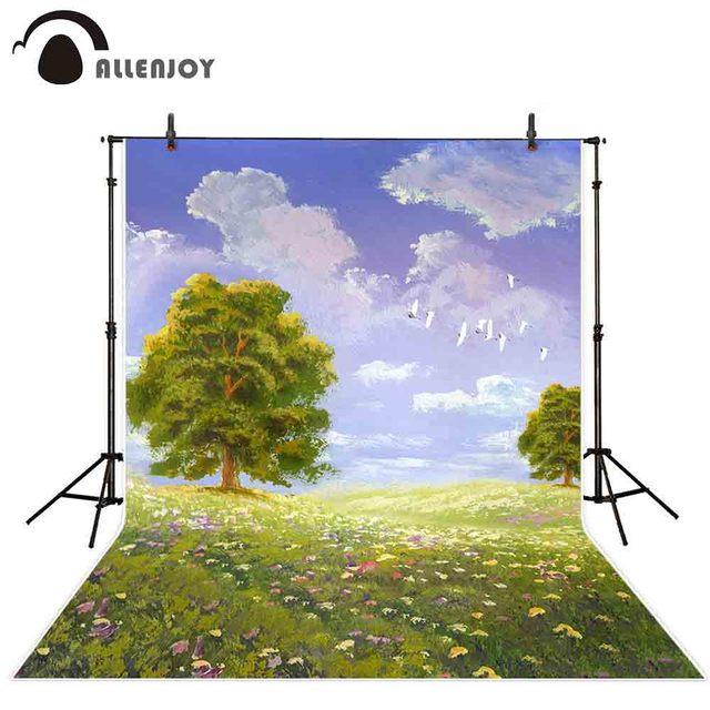 Фон для фотосъемки Allenjoy Весенняя живопись небо дерево цветы зеленая трава фон для фотосъемки Фотофон для фотостудии