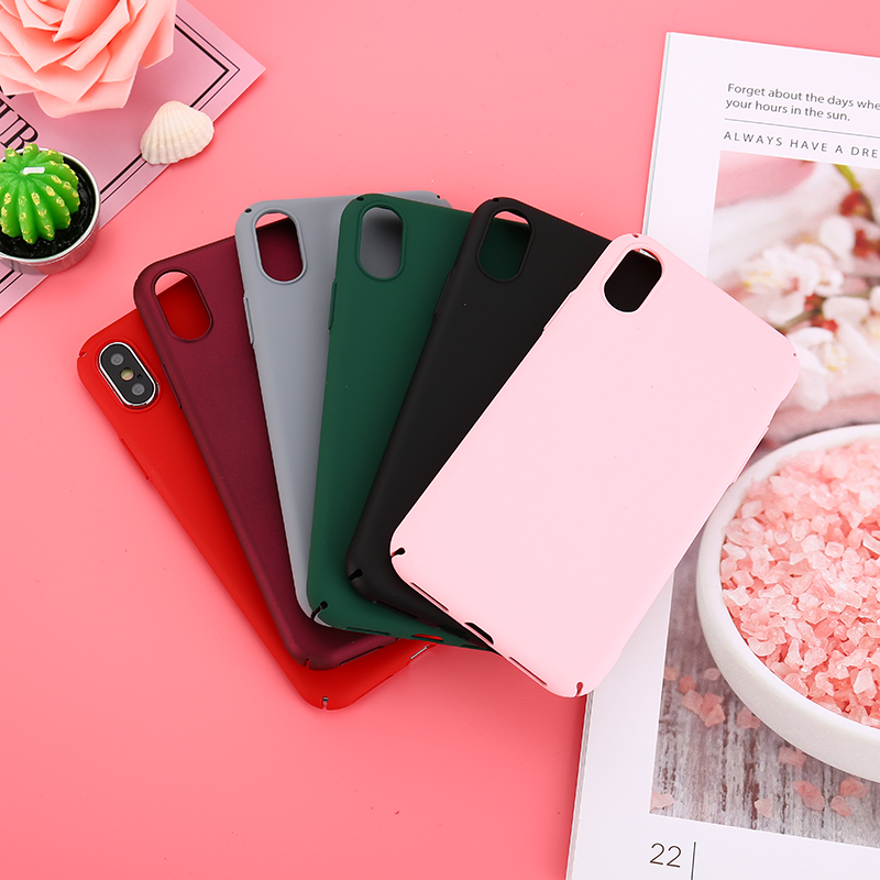 Candy Color Phone Case For iPhone X 8 7 6 6s Plus Fashion Wine Red Matte Ultra thin Hard PC Frosted Back Cover Case For iPhone 8