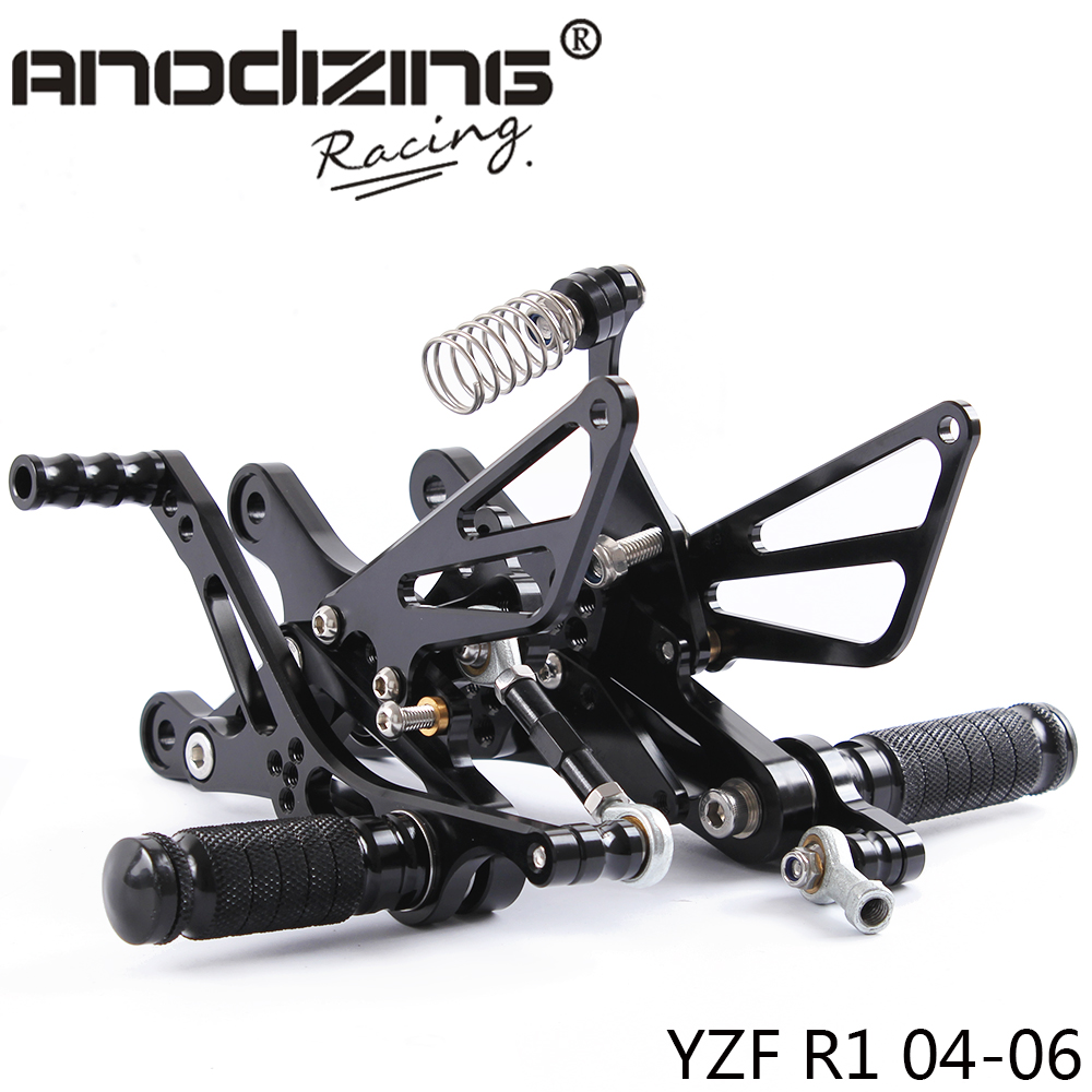 Full CNC Aluminum Motorcycle Adjustable Rearsets Rear Sets Foot Pegs For YAMAHA R1 2004-2006