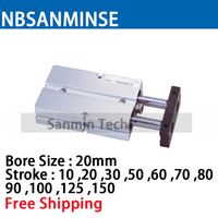 NBSANMINSE TN Bore20mm Double rod cylinder Double Acting With Magnet Air Pneumatic Cylinder High Quality
