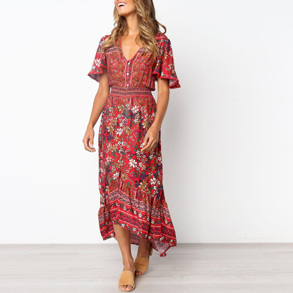 Yfashion High Quality Women Floral Printing Mandarin Sleeve long Dress 2019 Summer Girl Dress Natural Simple New in Dresses from Women 39 s Clothing