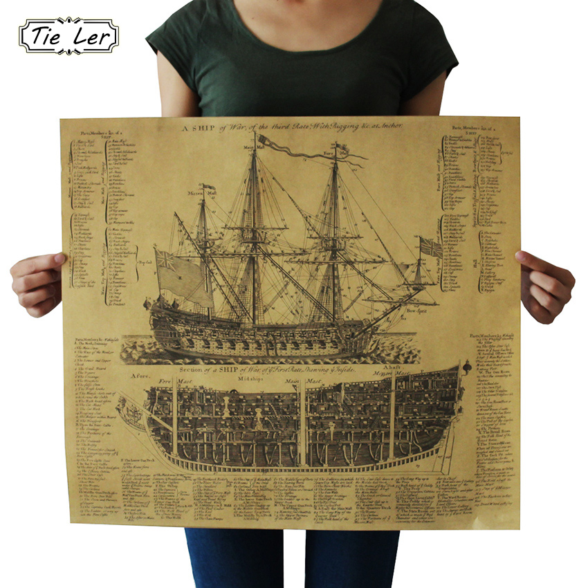 TIE LER Great Maritime Era Ancient Warship Design Drawings Vintage Posters Kraft Paper Posters Wall Stickers Mural Decoration