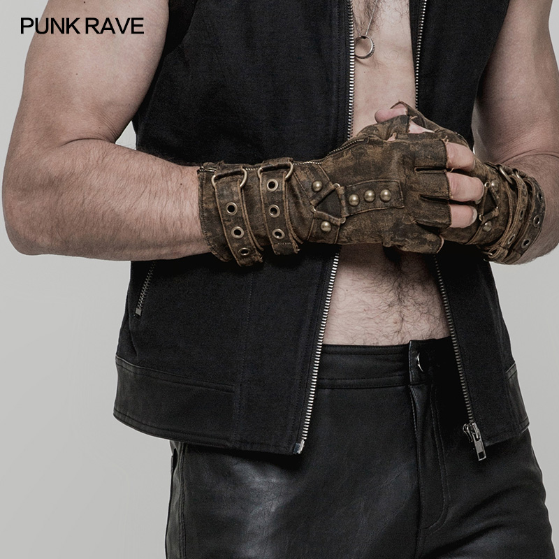 PUNK RAVR Steampunk Men Rivets Fingerless Gloves Inelastic PU Army Style Motorcycle One Pair Military Gothic Dieselpunk Glove