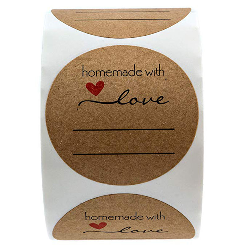 wedding decoration Stickers 500 Homemade gift Tags Happy Holidays Natural Kraft Baked with Love Stickers Love Canning Labels in Party DIY Decorations from Home Garden