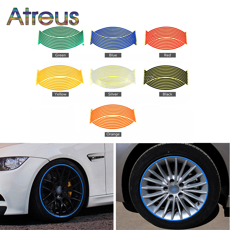 Atreus 16pcs Car Wheel Stickers Decals 14 Reflective Rim Tape For Mercedes W203 BMW E39 E36 E90 F30 F10 Volvo XC60 Audi A6 c5
