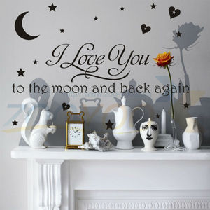 % i love you to the moon and back again quotes wall decals home decorative stickers girls room removable vinyl posters home art(China)