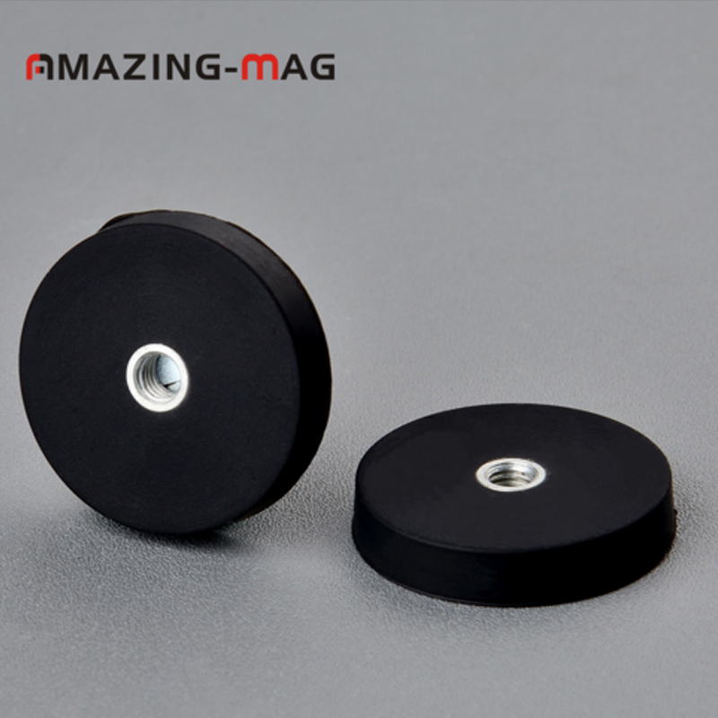 2PC 8.5KG Powerful Neodymium Magnet Small Round with Rubber Costed 32*6mm Internal Tread Fixed Support Magnets Magnetic Pot2PC 8.5KG Powerful Neodymium Magnet Small Round with Rubber Costed 32*6mm Internal Tread Fixed Support Magnets Magnetic Pot
