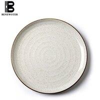8/10inch Japanese Style Ceramics Western Plate Dinner Plate Cake Dessert Snack Fruit Tray Breakfast Dinnerware Kitchen Tableware