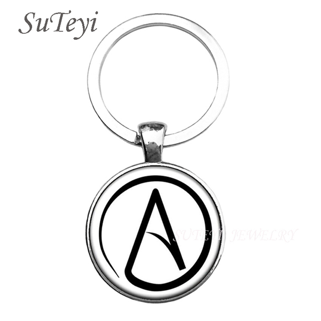 2017 New Arrived Atheist Atheism Symbol Silver Pewter Key Chain