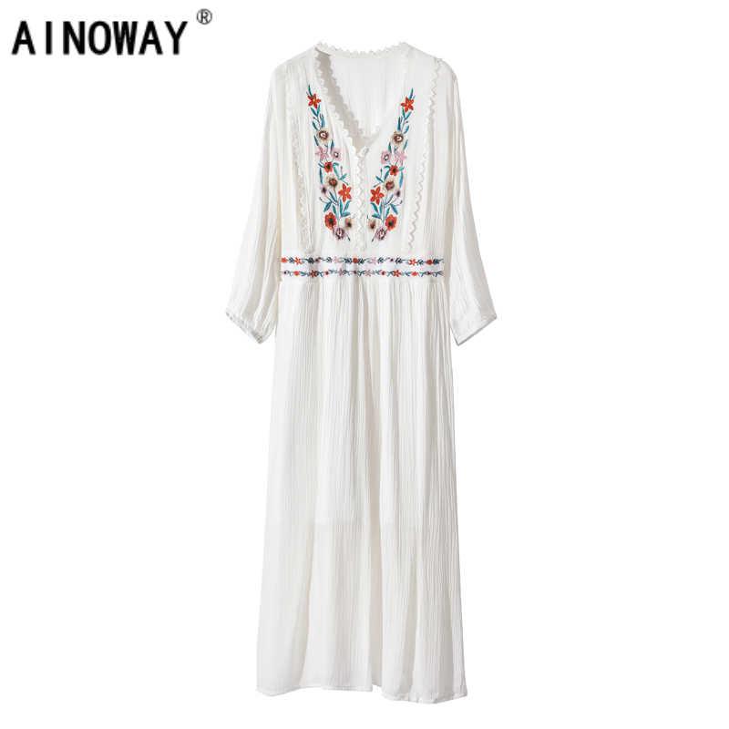 d2d2e6d6ea8b6 Vintage Chic vestidos Boho dress three quarter Floral embroidery beach  Bohemian midi dress Ladies v-neck sashes Summer dress