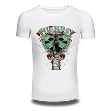 Jzhifiyer DY-128 Abstract Skull Printed Size M-3XL Mens's 100%Cotton T shirts Street White Short-Sleeved fitness T shirts Men