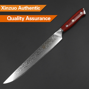 """Image 4 - XINZUO 10"""" inch Slicing Knife Japan Damascus Steel Cleaver Meat Knife Rosewood Handle Pro Sashimi Sushi Chefs Knives"""