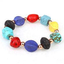 Bracelet en Pierre de lave perlée pour femme, Chakra, bohème, amitié, meilleur ami, Pierre Naturelle