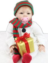 22inch Silicone Reborn Baby Doll Lifelike Boy Alive Snowman Kits for Christmas Gifts Women Collectible Toys