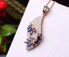 natural sapphire pendant S925 Sterling silver Natural crystal Pendant Necklace trendy elegant Clouds winding women party jewelry