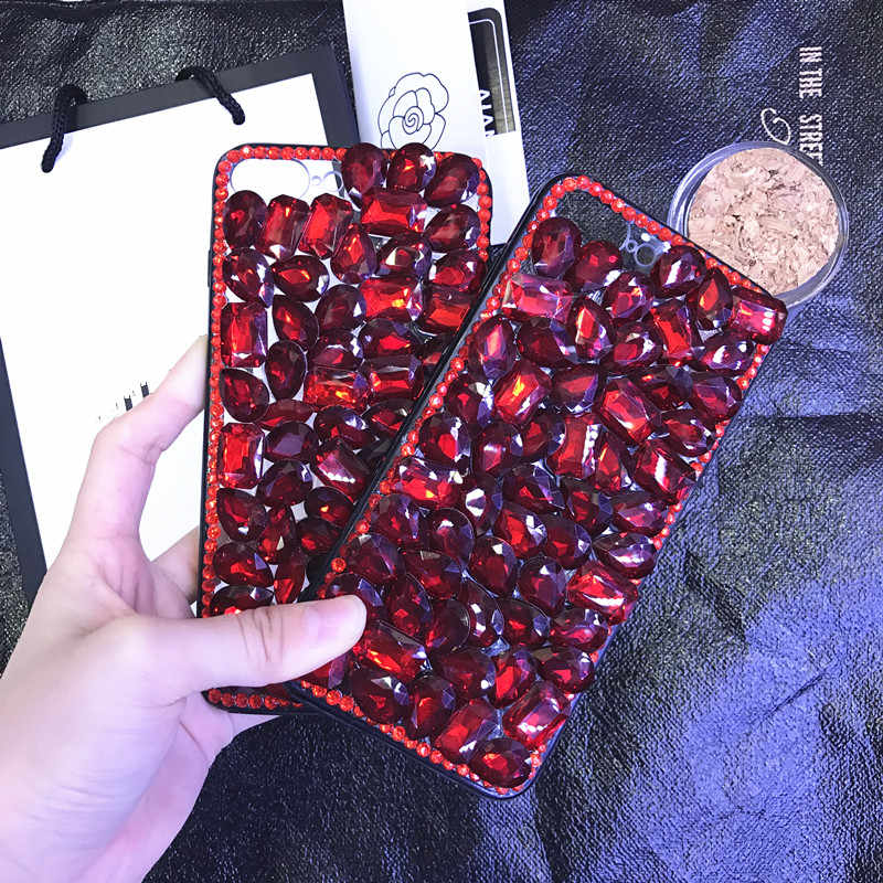 Per iPhone X 8 6 6 s 7 Di Lusso di Bling Caso Strass Diamante Rosso Cover per iPhone 7 7 plus Fundas Coque de telefono per 8 8 più