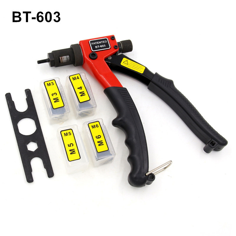 free shipping 8 inch hand riveter BT-603 manual rivet gun 200mm riveting tools with nut dies M3 M4 M5 M6 carton package кеды animal animal an026awshz93