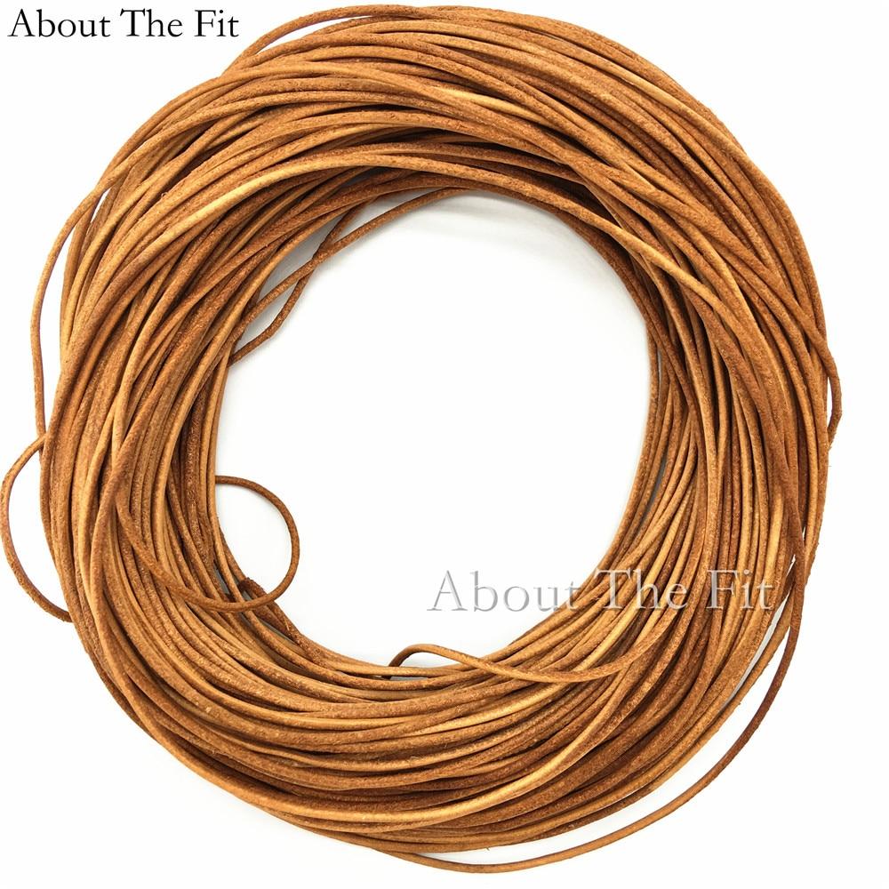 Véritable cuir de vache cordons 2.5mm 100 M fabrication de bijoux artisanat collier Bracelet perles cordes vêtements étiquette ligne à propos de l'ajustement - 6