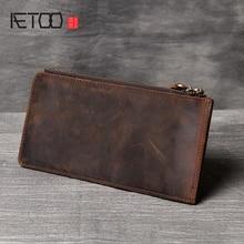 купить AETOO Retro Mad Horse Leather double zipper long Wallet card Package One pack handmade head layer cowhide men's mobile phone bag по цене 1832.05 рублей