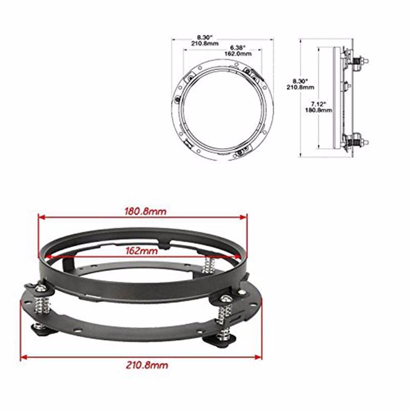 Black 7 Inch Headlight Ring Mounting Bracket Headllamp Mount For Harley Davidson Motocycle Jeep