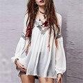2017 Moda Feminina Verão Elegante Boho Vintage Blusas Sexy V Long Neck Sleeve Impressão Floral Lace-up Chiffon Tops Blusas Femininas