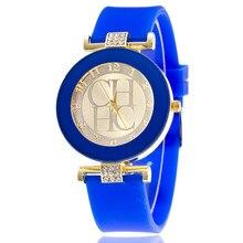 b8e2ed756 2019 nueva marca de cuero simple Geneva reloj Casual de cuarzo relojes de  silicona de cristal