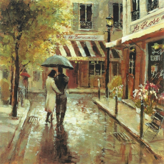 Prints Oil Painting Romantic Street Art Lovers In The Raining Living Room Decor Canvas