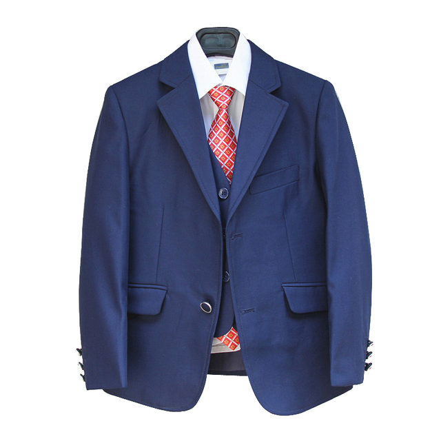 Blue Blazers for Boys Suits for Weddings Kids 3 pieces Tuxedo suit Formal dress terno menino Children clothing set