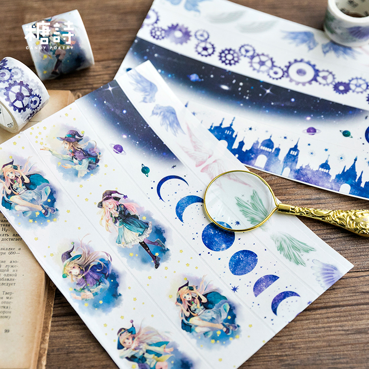 1 Pcs Washi Tapes DIY Little Witch Alice Moon Paper Masking Tape Decorative Adhesive Tapes Scrapbooking Stickers Size 5m