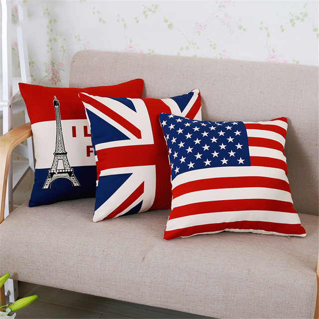 Home Decorative Sofa Back Cushion Red Dakimakura Cojiness Throw Pillows Pillowcase With Core British Flag