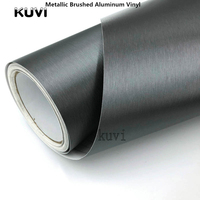 Size:1.52x28m/Roll Air Drain Grey Brushed Aluminium Vinyl Film Metallic brushed Car Body Vinyl Interior Stickers