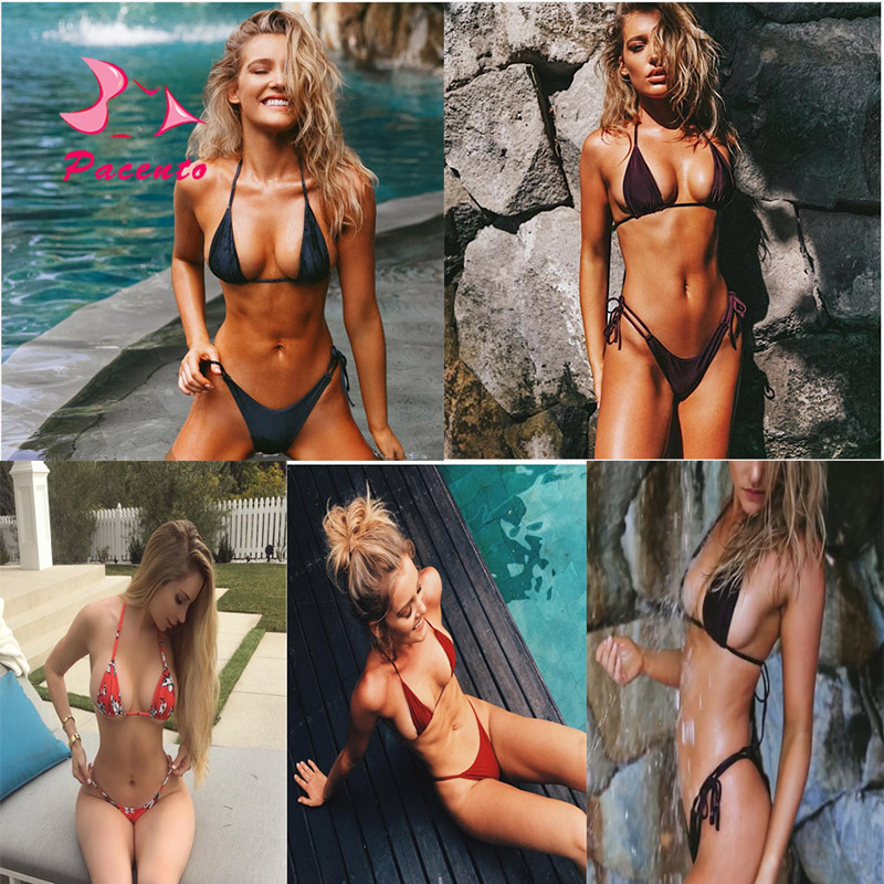 Pacento Bikinis Set Sexy Halter Swimsuit Brazilian Women Micro Bikini 2018 Thong Swiming Suits Solid Swimwear Female Plavky XL