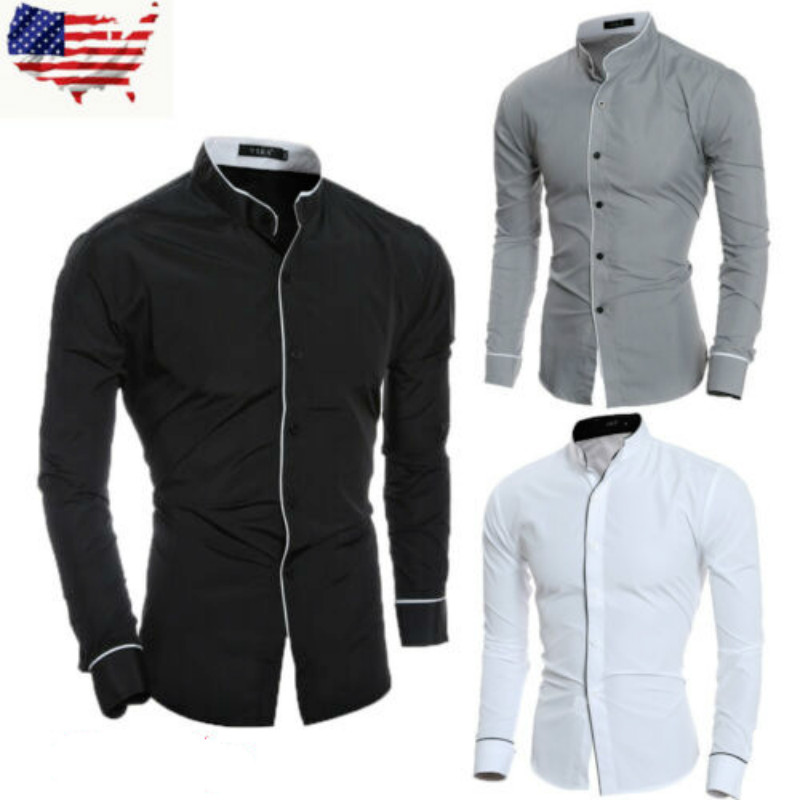 US Men's Luxury Dress Cotton Blend Shirts Stand Collar Business Formal Tops Personality Trimming  Slim Fit