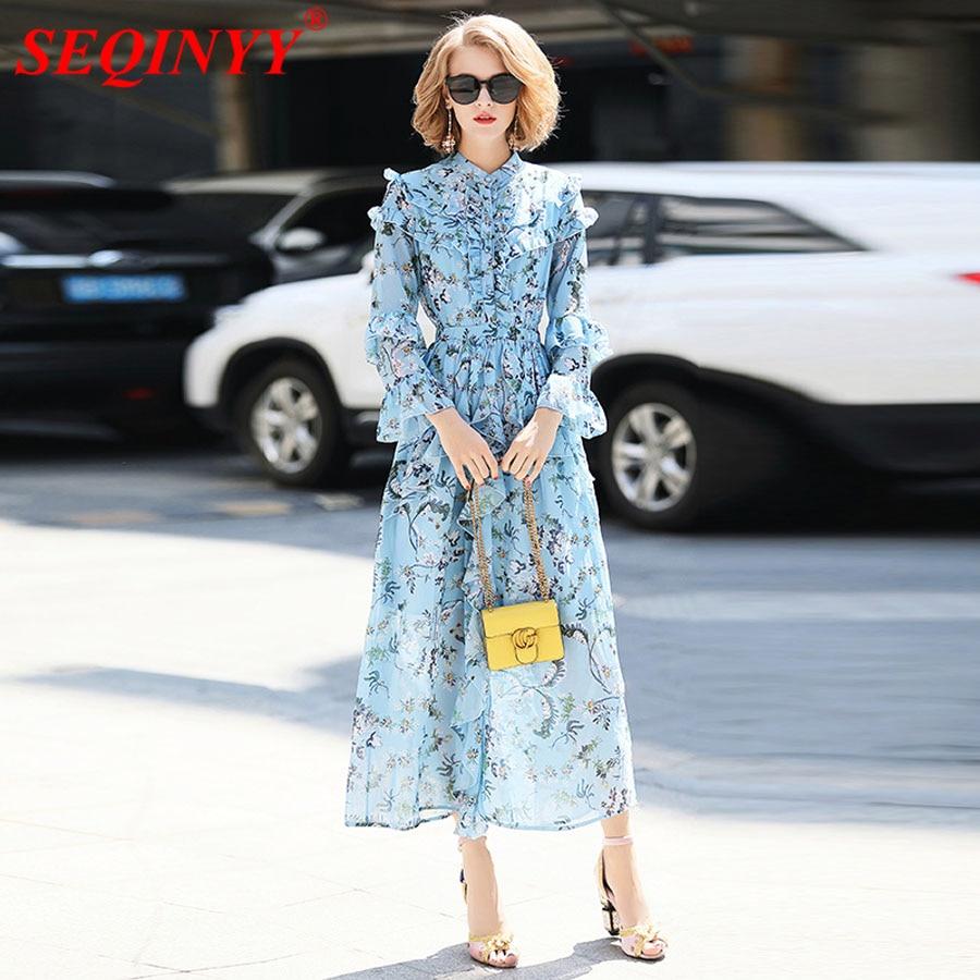 Seqinyy Summer Midi Dress Flowers Printed Light Blue Ruffles Womens