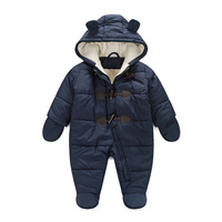 New 216 Baby Winter Clothes Cotton Thick Warm Hooded Baby Jumpsuits Newborn Baby Boy Girl Romper