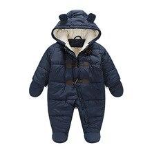 New2017 детская зимняя одежда теплые хлопковые с капюшоном детские комбинезоны Новорожденные Для мальчиков и девочек Комбинезон детский зимний комбинезон Пуховая одежда