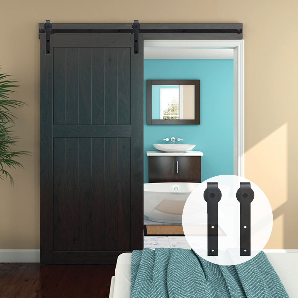 LWZH 14FT15FT Country Style Sliding Wood Barn Door Hardware Kit Black Steel J Shaped Hangers Track Rollers For Single Door