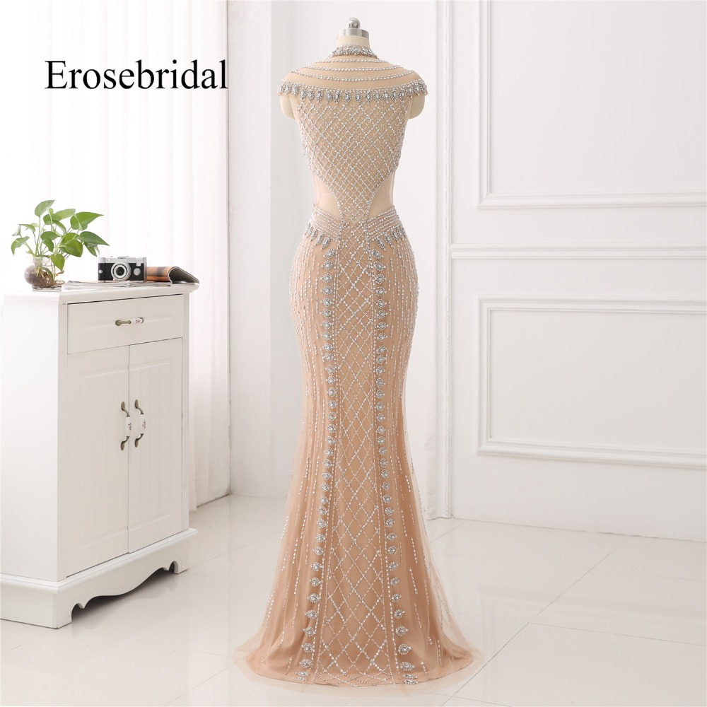 Image 2 - High Collar 2019 Mermaid Evening Dress Beaded Long Evening Gown Sexy Beading Illusion Back robe de soiree In Stock-in Evening Dresses from Weddings & Events