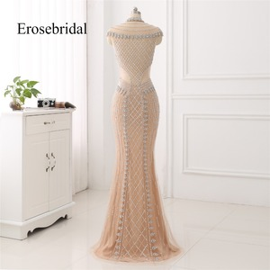 Image 2 - High Collar 2019 Mermaid Evening Dress Beaded Long Evening Gown Sexy Beading Illusion Back robe de soiree In Stock