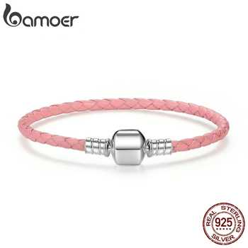 BAMOER Original 925 Sterling Silver Wholesale 4 Color Genuine Leather Snake Chain Bracelets for Women Fine Jewelry PAS908 - DISCOUNT ITEM  35% OFF All Category