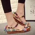 2017 Новые Моды для Женщин Мокасины Обувь Этнические Бренд Бисером Удобные Квартиры Красочные Повседневная Вышитые Хлопок Дамы China Shoe