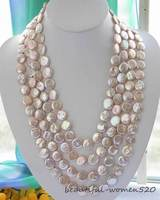 Z2958 long 100 14mm pink coin freshwater pearl necklace