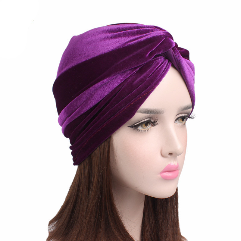 Top Fashion Knotted Muslim Stretch Women Velvet Turban Hat Scarf Chemotherapy Chemo Beanies Caps Winter Warm Hair Accessories in Women 39 s Hair Accessories from Apparel Accessories