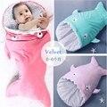 Shark Sleeping Bag Velvet Soft Baby Swaddle Blanket Newborn Receiving Blanket 85X45cm