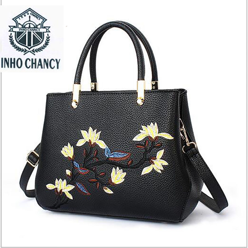 INHO CHANCY Brand Luxury embroidered  Floral Designer Tote Bags For Women High Quality PU Leather Female Handbags