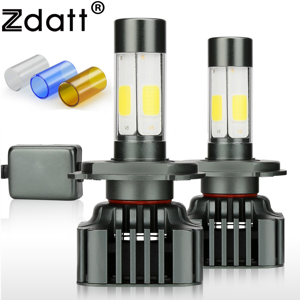 Zdatt H7 Led Bulb Canbus H4 Led Headlights COB H11 9005 100W 12000LM/Set H8 H9 HB3 12V 24V Car Fog Light Auto 3000K 6000K 8000K eurs super bright 12000lm xhp50 72w h11 h7 led lamp g8 led fog drl light bulb car auto conversion kit motorcycle headlights 12v