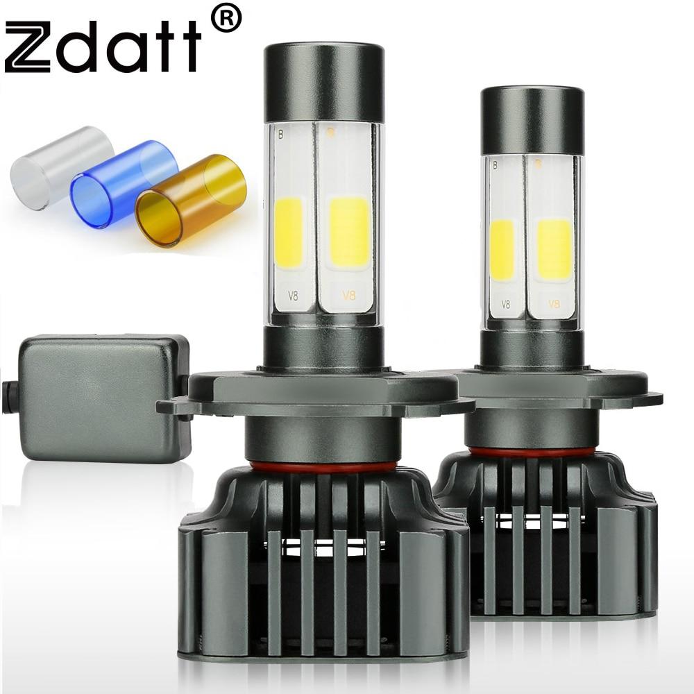 Zdatt h7 lâmpada led canbus h4 faróis led cob h11 9005 100 w 12000lm/conjunto h8 h9 hb3 12 v 24 v carro luz de nevoeiro automóvel 3000 k 6000 k 8000 k